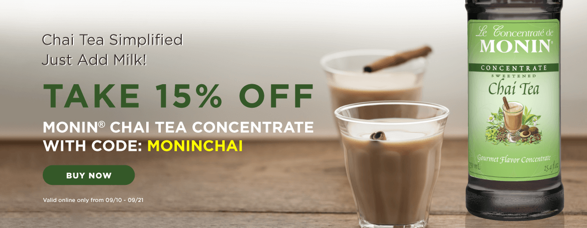 Get 15% Off Concentrate of Monin Chai Tea