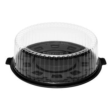 Karat 12'' PET Black Single Layer Cake Display Container with PET Clear Dome Lid - 50 Sets