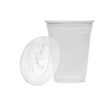 Karat 16oz PET Cold Cups and PET Strawless Sipper Lids (98mm)