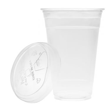 Karat 20oz PET Cold Cups and PET Strawless Sipper Lids (98mm)