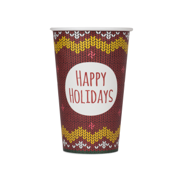 Karat 16oz Paper Hot Cups - Holiday Sweater (90mm) - 1,000 ct
