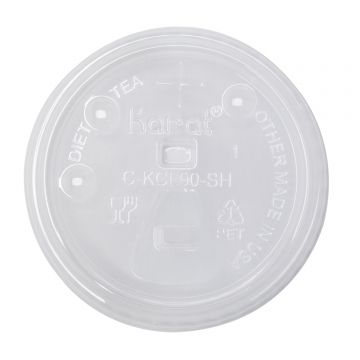 Karat PET Plastic Strawless Sipper Lid for 12-22 oz. Paper Cold Cup