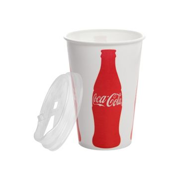 Karat 16oz Paper Cold Cups (Coca Cola) and PET Strawless Sipper Lids