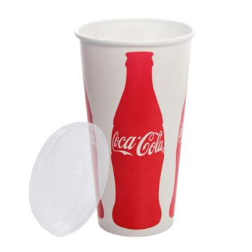 Karat 32oz Paper Cold Cups (Coca Cola) and PET Strawless Sipper Lids