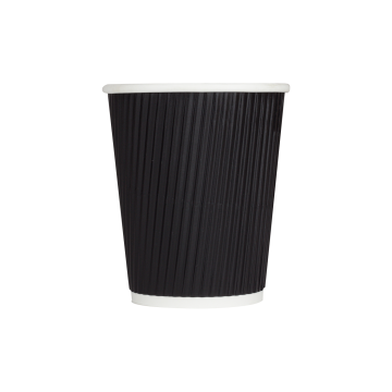 Karat 8oz Ripple Paper Hot Cups - Black (80mm) - 500 ct