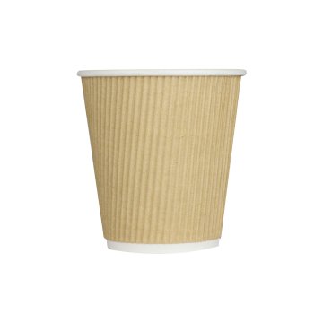 Karat 10oz Ripple Paper Hot Cups - Kraft (90mm) - 500 ct