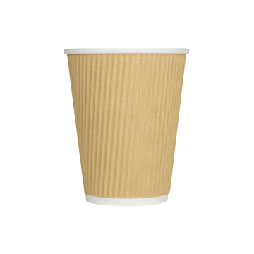 Karat 12oz Ripple Paper Hot Cups - Kraft (90mm) - 500 ct