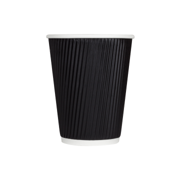 Karat 12oz Ripple Paper Hot Cups - Black (90mm) - 500 ct