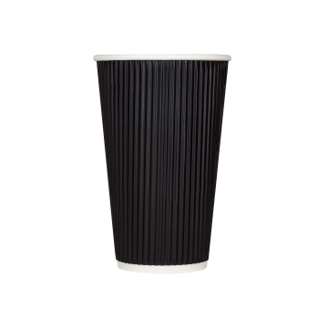 Karat 16oz Ripple Paper Hot Cups - Black (90mm) - 500 ct