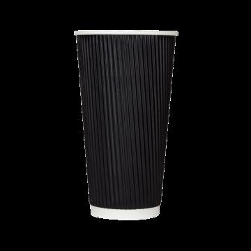 Karat 20oz Ripple Paper Hot Cups - Black (90mm) - 500 ct