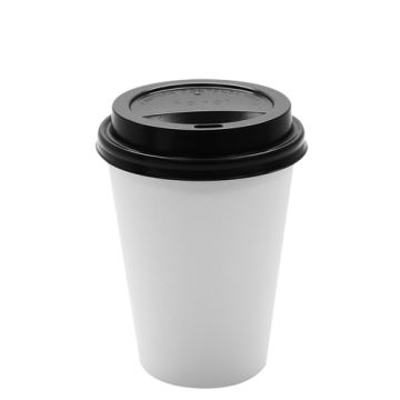 Karat 12oz White Paper Hot Cups and Black Sipper Dome Lids (90mm)