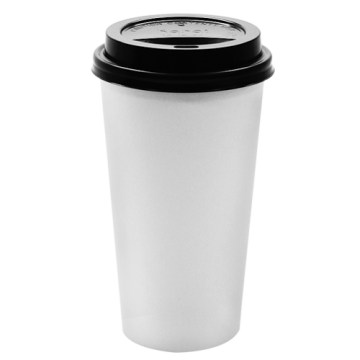 Karat 20oz White Paper Hot Cups and Black Sipper Dome Lids (90mm)