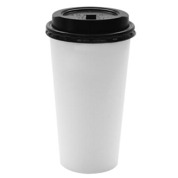 Karat 20oz White Paper Hot Cups and Black Enclosure Lids (90mm)