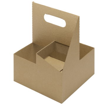 Karat 4 cup Kraft Paperboard Carrier with Handle for 12-32 oz cup - 200 pcs