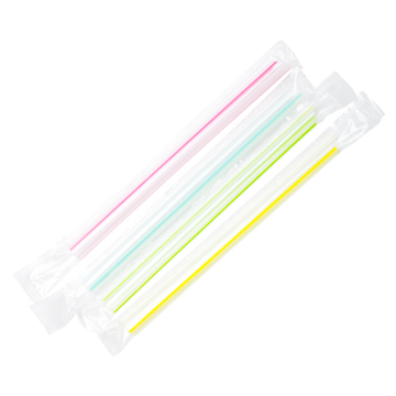 Karat 7.5'' Boba Straws (10mm) Poly Wrapped - Mixed Striped Colors - 2,000 ct, C9002s