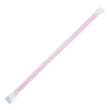 Karat 9'' Giant Straws (8mm) Paper Wrapped - Pink - 2,500 ct, C9075 (Pink)