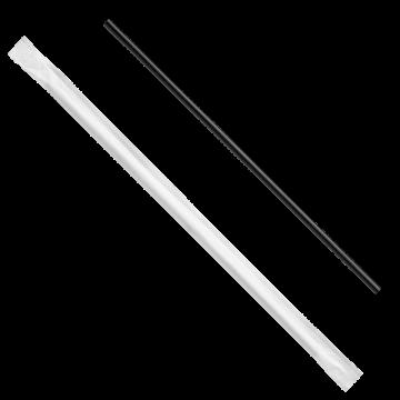 "Karat 5.75"" PP Plastic Stir Straw Paper Wrapped, Black - 10,000 pcs"