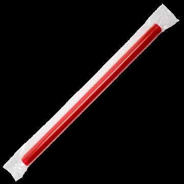 Karat 7.5'' Boba Straws (10mm) Poly Wrapped - Red - 4,500 ct, C9563