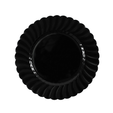 "Karat 7"" PS Plastic Scalloped Plate - Black - 240 ct"