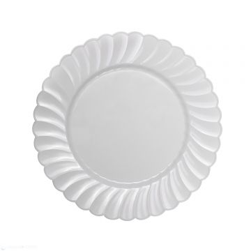 "Karat 7"" PS Plastic Scalloped Plate - White - 240 ct"
