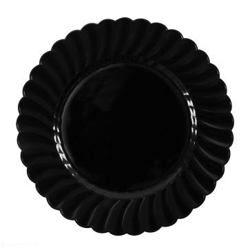 "Karat 10.25"" PS Plastic Scalloped Plate - Black - 120 pcs/ctn"