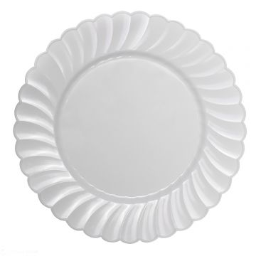 "Karat 10.25"" PS Plastic Scalloped Plate - White - 120 ct"