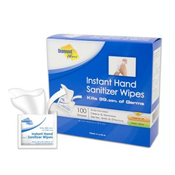 "Diamond Wipes 5' x 8"" Instant Hand Sanitizing Wipes - Individually Wrapped & Boxed"