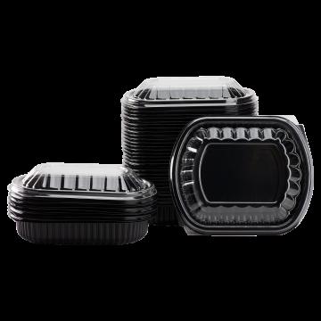 Karat 24oz PP Microwaveable Black Take Out Box with Lids - 300 ct