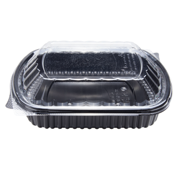 Karat 36oz PP Microwaveable Black Take Out Box with Lids - 300 ct