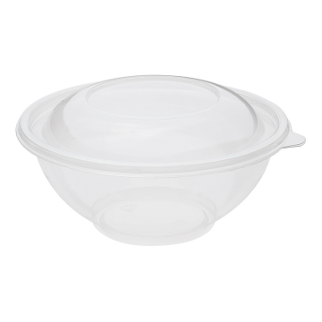 Karat 24oz Round PET Plastic Salad Bowls with Lids - 300 ct