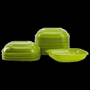 Karat 24 oz PET Square Bowl (Green) - 300 ct