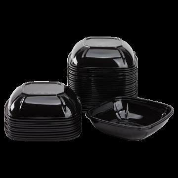 Karat 32 oz PET Square Bowl (Black) - 300 ct