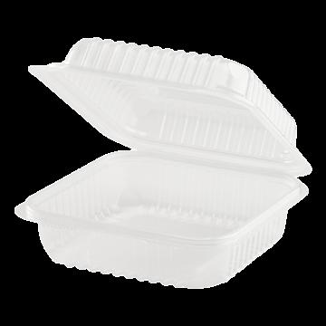 Karat 7'' x 7' PP Plastic Hinged Container, 1 compartment - 250 ct