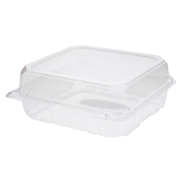 Karat 8''x8'' PET Plastic Hinged Containers - 250 ct