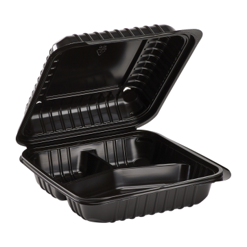"Karat 8'' x 8"" Black PP Plastic Hinged Container, 3 compartment - 250 ct"