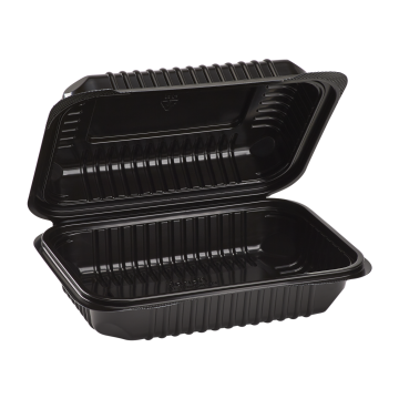"Karat 9'' x 6"" Black PP Plastic Hinged Container, 1 compartment - 250 ct"