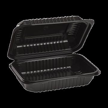 "Karat 9'' x 6"" Black PP Hinged Container, 1 compartment - 250 ct"