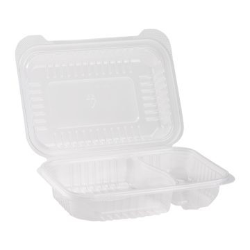 "Karat 9'' x 6"" PP Plastic Hinged Container, 2 compartment - 250 ct"