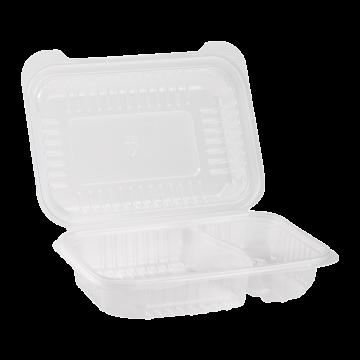 "Karat 9'' x 6"" PP Plastic Hinged Container, 2 compartment - 250 ct"