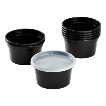 Karat 12 oz Black PP Injection Molded Round Deli Containers with Lids - 240 Sets