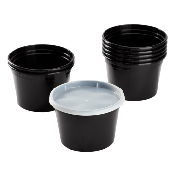 Karat 16 oz Black PP Injection Molded Round Deli Containers with Lids - 240 Sets