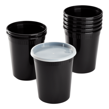 Karat 32 oz Black PP Injection Molded Round Deli Containers with Lids - 240 Sets