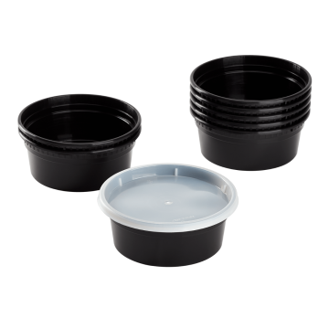Karat 8 oz Black PP Injection Molded Round Deli Containers with Lids - 240 Sets