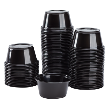 Karat 3.25oz PP Plastic Portion Cups - Black - 2,500 ct