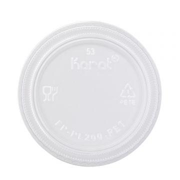 Karat 1oz Squat-2oz PET Plastic Portion Cup Lids - 2,500 ct