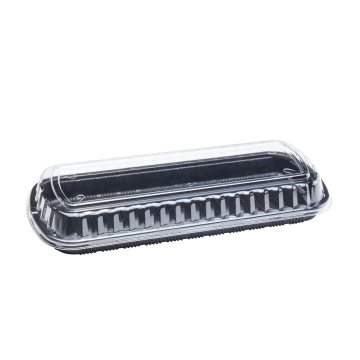 Karat Full Slab Black PP Plastic Rib Container with Clear OPS lid - 100 ct