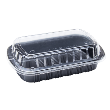Karat Half Slab Black PP Plastic Rib Container with Clear OPS lid - 100 ct