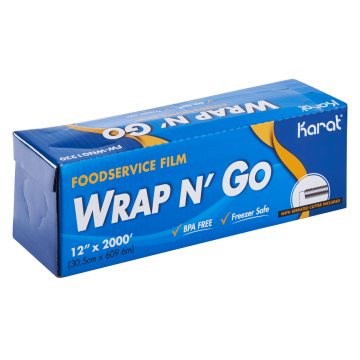 "Karat 12"" x 2000' WRAP N' GO Foodservice Film with Serrated Cutter"