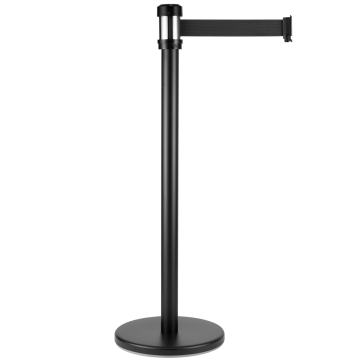 "Karat 38"" Black Guidance Stanchion with 78"" Black Retractable Belt (Set of 2)"