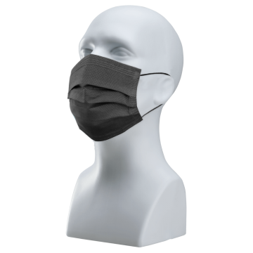 Karat 3-ply Black Face Mask with Ear Loops (Individually Wrapped) - Pack of 50 *Shipping in mid August